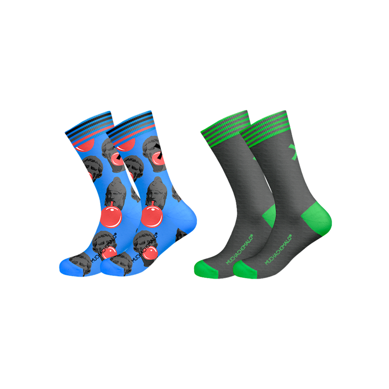 2-PACK SOCKS PATTERN/SOLID