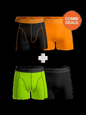 Heren 2-pack + 2-pack boxershorts effen