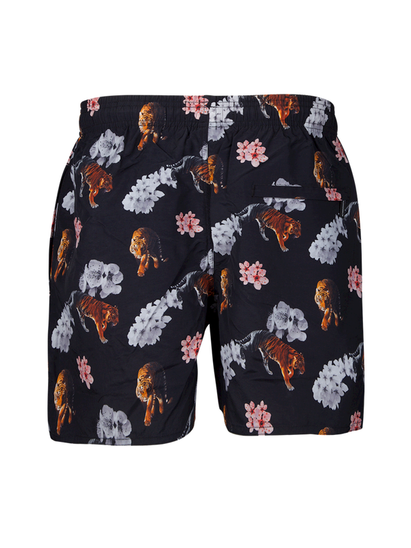 Boys swimshort Tiger/Flower Black