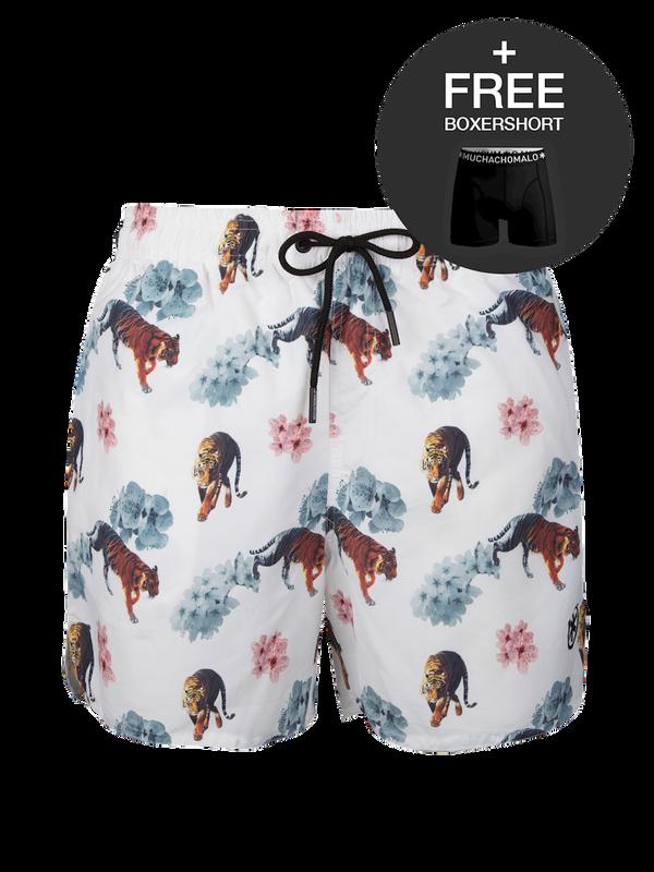 Men swimshort Tiger/Flower White